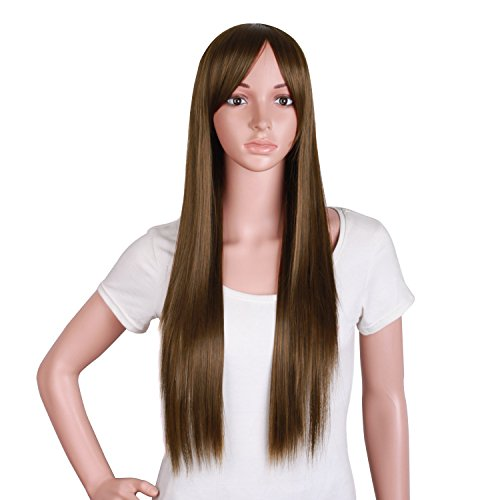 long brown wig with side bangs - 2