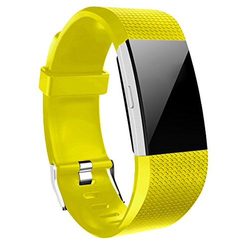 Wishesport For Fitbit Charge 2 Bands Special edition Replacement Bands Accessory Sport Bands Strap for Charge 2 HR Fitness dot S Yellow