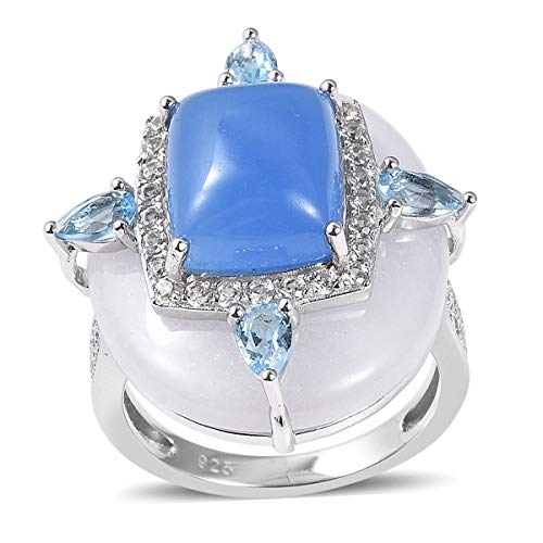 Cocktail Ring 925 Sterling Silver White Jade Dyed Blue Jade Jewelry for Women Size 7