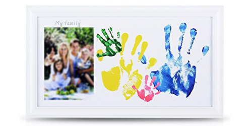 NWK DIY Family Photo + Family/Baby Hand/Footprints Kit with 10 X 17 Elegant White Wood Picture Frame, Non-Toxic Watercolor Paints, Family Gift, Baby Shower Registry Keepsakes