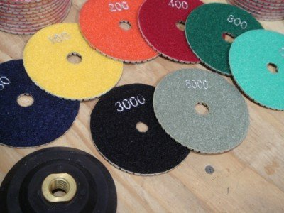 7'' Set of 15 Diamond Polishing Pads + Rubber Velcro Holder 5/8-11