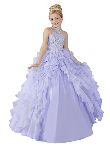 HuaMei Little Girls' Chiffon Halter Birthday Party Ball Gowns Kids Pageant Dresses 8 US Light Purple by HuaMei