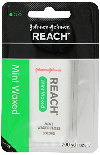 REACH Waxed Dental Floss for Plaque and Food Removal, Refreshing Mint Flavor, 200 Yards (Pack of 6) by Reach