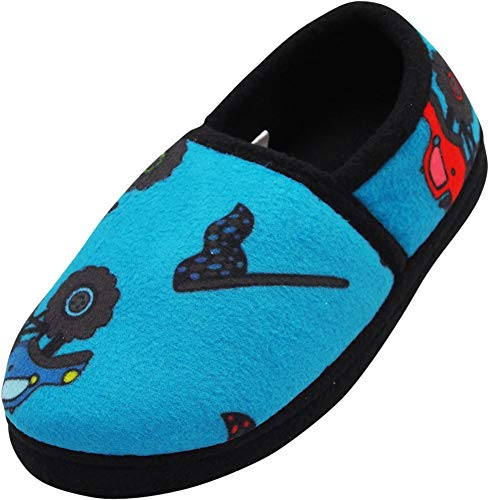 NORTY - Little Boys Monster Truck Fleece Slippers, Teal Blue 40834-12MUSLittleKid