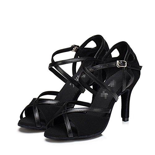 In Soft Ballroom Scarpe Wgwioo Scamosciata Donna Salsa A Sandali Shoes Fibbia Pelle Dance Tacco Soles Alto Nero Latin Tango X8z8H7x