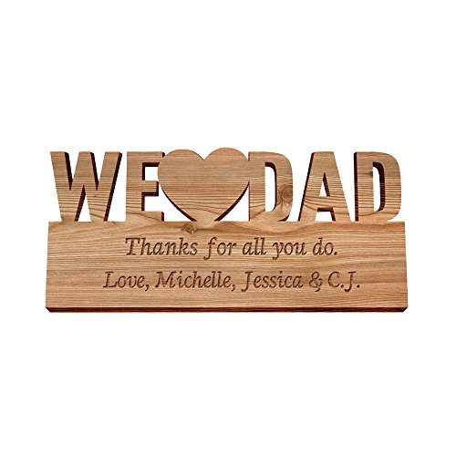 GiftsForYouNow Engraved We Heart Dad Personalized Wood Plaque
