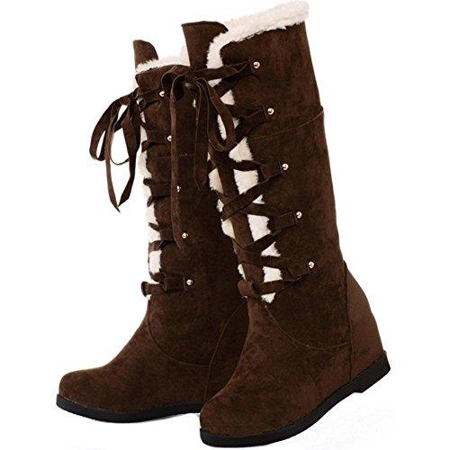 Heel Hidden Lace COOLCEPT Boots Brown Up Women HXxqTwqE1