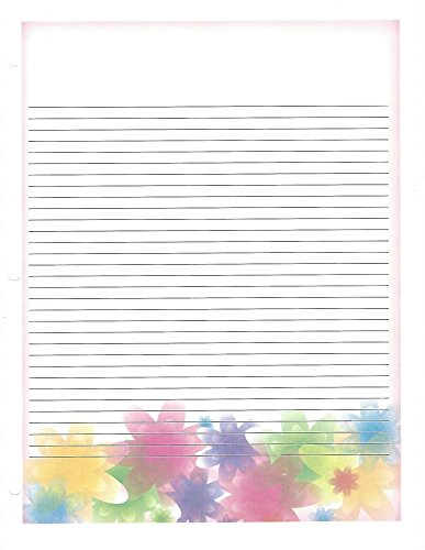 Floral Pastel 3 Hole Loose Leaf Paper 50 Sheets by Floral Pastel Loose Leaf Paper