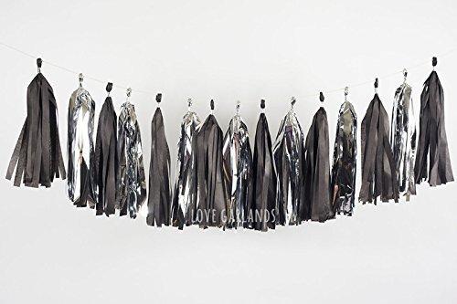 Black and Silver Tassel Garland, Black Tie Affair Decor