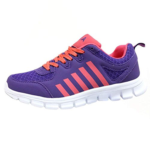 Ladies Running Trainers Air Tech Shock Absorbing Fitness Gym Sports Shoes Size 4 - 8 S2 Purple - Cerise TxUdDAvC0