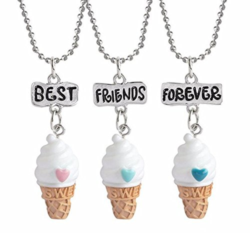 Indexu 3Pcs Ice Cream Best Friends Forever Necklace Friendship Miniature Food Pendant Jewelry