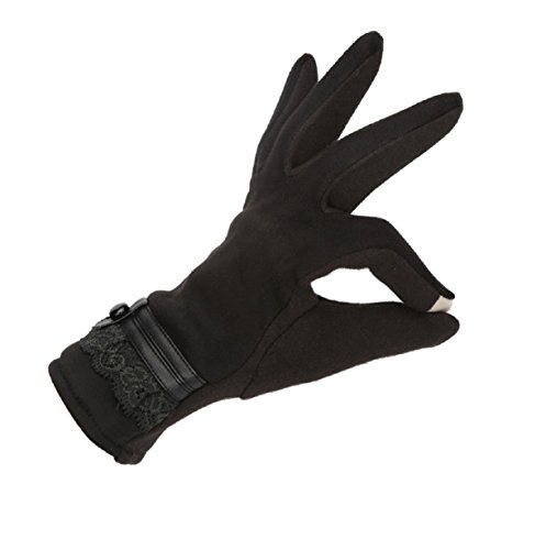 1Pair Winter Warm Touch Screen Riding Drove Gloves for Women (Black-A)