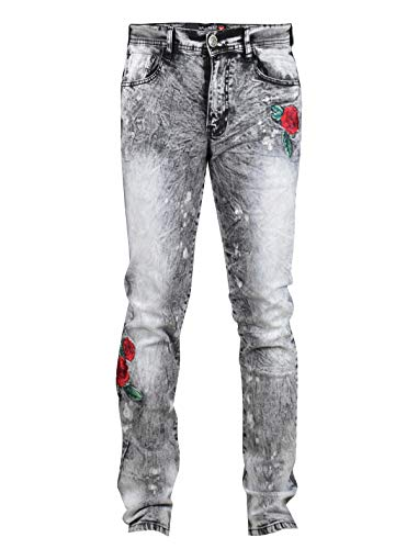 SCREENSHOTBRAND-P41881 Men's Premium Distressed Denim Pants - Skinny Fit Stretch Spandex Flower Embroidered Jeans-Black-32