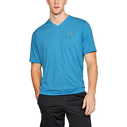 Under Armour Men's Threadborne Siro V-Neck T-Shirt, Canoe Blue (713)/Steel, (Large Canoe)