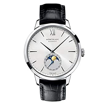 94a96ae3928 Image Unavailable. Image not available for. Color  Mont Blanc Montblanc  Meisterstuck Heritage Moonstruck Silver Dial Black Leather Mens Watch 110699