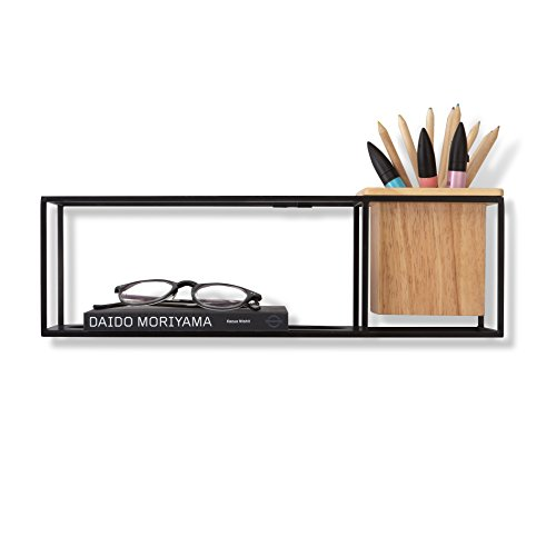 Umbra Cubist Floating Shelf with Built-In Succulent Planter – Modern Wall Décor and Geometric Display Shelf for Books, Candles, Mementos, Photos, Indoor Plants and More! | Small, Black Review