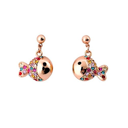 Ja and South Korea style fashion jewelry inlaid Austria diamond plating thick gold fish earrings female models