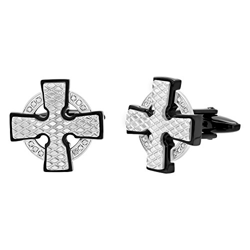 Men's Stainless Steel Diamond Accent Checker Plate Black Outlined Cross Cufflinks by Steel Nation Jewelry