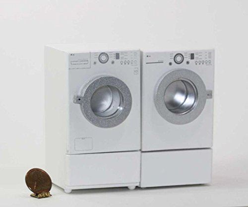 Dollhouse Miniature 1:12 Scale Modern Washer and Dryer Set