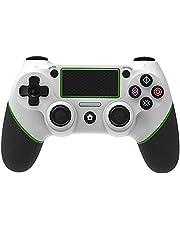 Yongluo Gamepad de jogo BT sem fio com touchpad vibração função de alça de 6 eixos Ergonômico alça de jogo compatível com PS4 host branco e verde
