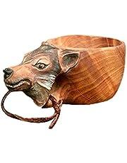 Handsnidad trämugg, sa Guksi djur huvud bild kopp med karbinhake, trevlig present till den som gillar naturen