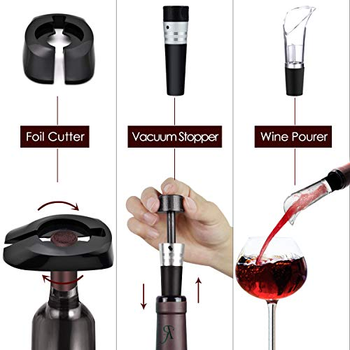 Electric Wine Bottle Opener Automatic Rechargeable Cordless Wine Corkscrew with Charger, Wine Vacuum Stopper, Wine Pourer and Foil Cutter by MUNION (Image #8)