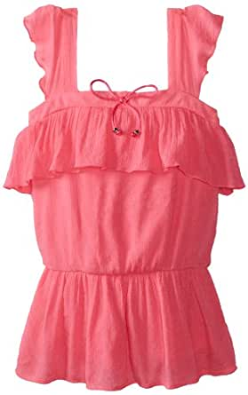 Amy Byer Big Girls' Gauze Ruffle Top, Pink, Small