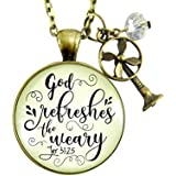 """24"""" God Refreshes The Weary Necklace Inspirational Christian Jewelry for Women Vintage Fan Charm Mom Gift"""
