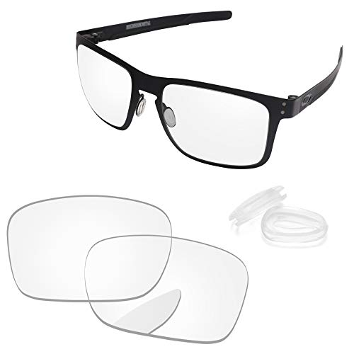 PapaViva Lenses Replacement & Nose Pad for Oakley Holbrook Metal Crystal Clear