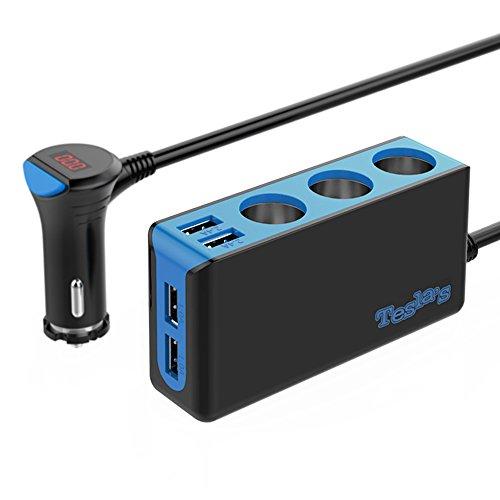 Tesla's 3-Socket Cigarette Lighter Splitter 12V/24V 120W Car Power Adapter DC Outlet Splitter with 6.5A 4-Port USB Car Charger for iPhone iPad Samsung Galaxy GPS Dashcam Radar Detector and More
