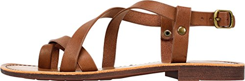 CAELA Womens Mountain Open Casual Walnut Toe White Flat Smooth Sandals aRUqEw