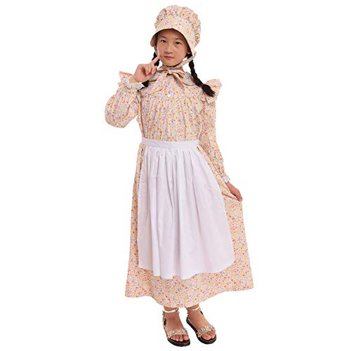 GRACEART Girls' American Pioneer Colonial Costume Prairie Dress 100% Cotton (Wheat,Size-10) -