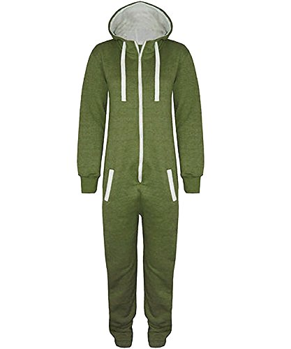 Stacy Unisex-Kinder Plain Aztekmuster oder Armee Camouflage-Muster Kapuzen Overall Onesie Khaki