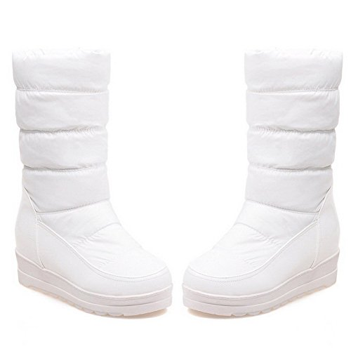 Kitten Toe On Boots Women's Materials Solid Round Closed Pull Heels Allhqfashion Blend White nBqZSxzxU