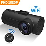 C1 Dash Cam HaloCam FHD 1080P Car Camera Video Recorder Built-in WiFi Dashboard Camera with Sony IMX323 Exmor CMOS G-Sensor Super Clear Vision Loop Recording