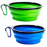 Collapsible Dog Bowls - Set of 2 Portable Travel Water Bowls for Pet Dogs, Foldable Expandable Cup Dishes, Dog Food Water Bowl with 2 Carabiners (Blue + Green)