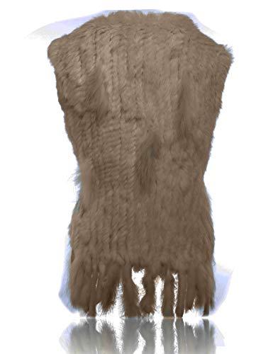 Camello De Conejo Chaleco Punto Con Piel Borde Heizzi Mapache 1qwS8C