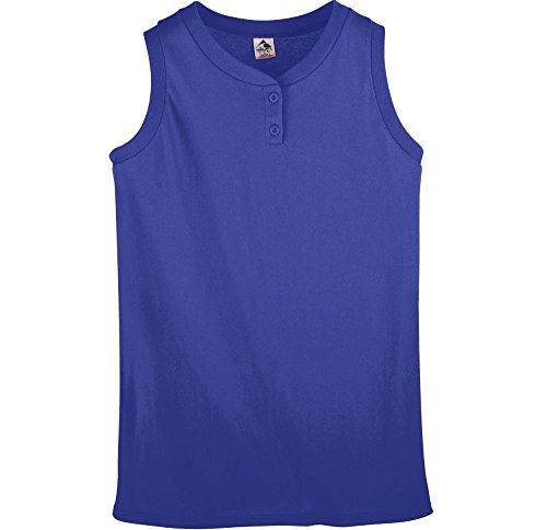 (Augusta Sportswear Women's Sleeveless Two-Button Softball Jersey L Purple)