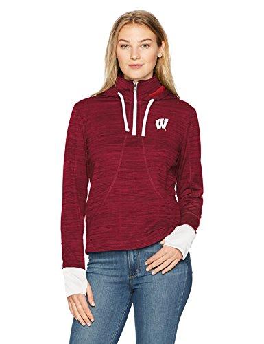 NCAA Wisconsin Badgers Women's Ots Annabelle 1/4-Zip Pullover Hoodie, Medium, Red