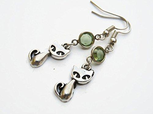 Kitty Cat Birthstone Earrings, Personalized Pussy Cat Earrings, Animal Feline Earrings, Pet Memorial -