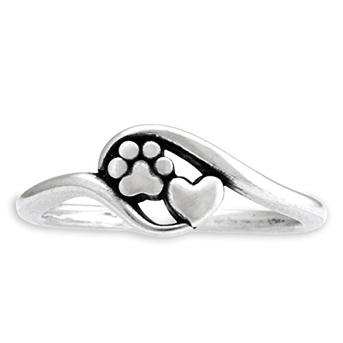 Sterling Silver Heart and Dog Paw Print Wrap Ring (size 11)
