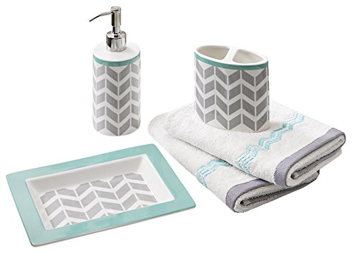 Teal Bathroom Accessories Set Amazoncom - Turquoise and grey bathroom accessories