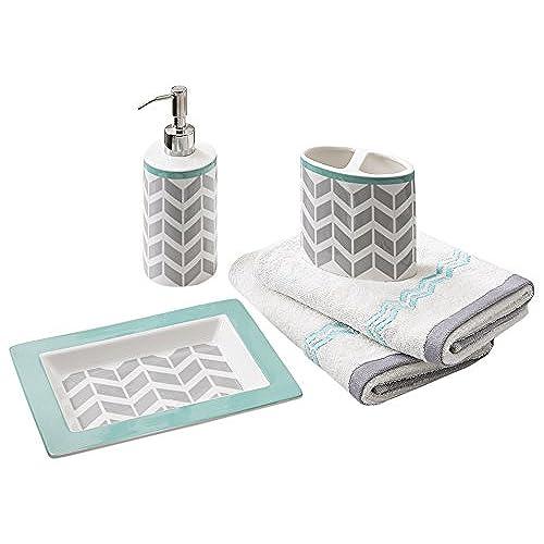 teal bathroom accessories. Intelligent Design ID71 529 5 Piece Nadia Bath Accessory Set  2 95 x 4 72 53 24 1 8 66 6 3 16 26 Grey Teal Bathroom Accessories Amazon com