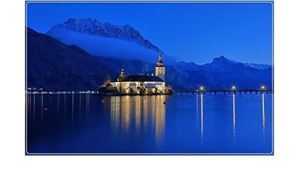 austria-gmunden-lake-traunsee-mountains-house-blue-sky-night ...