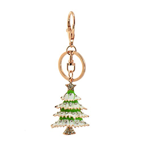 (Paialco Christmas Tree Key Ring Charm Pendant Rose Gold Tone with Split Ring )