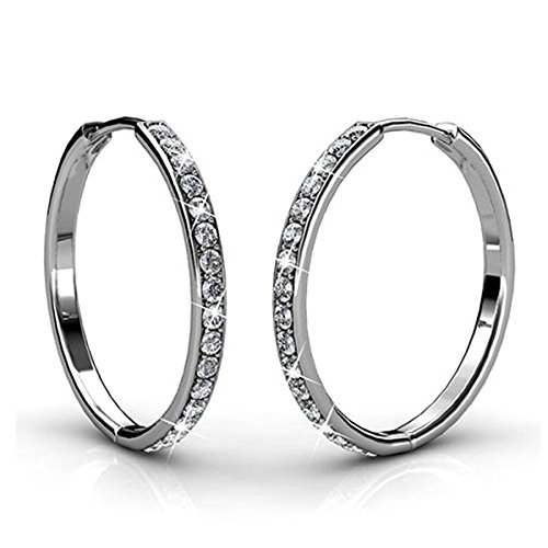 Ring 18k White Gold Jewelry - BELLE & LILY Hoop Loop Earrings 18K White Gold with Swarovski Element Crystal Sparking Gift for Wife Girlfriend (E-HoopC)