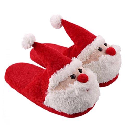 ChicPro Cozy Christmas Santa Plush Slipper Memory Foam Non Slip Warm Household Slippers for Kids & Adults