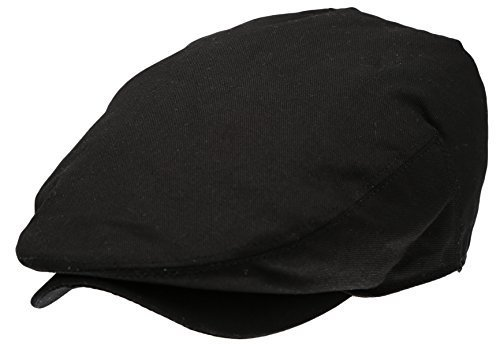 Men's Collection Cotton Ivy Flat Cap Gatsby Newsboy Hat (Black - Gatsby Collection