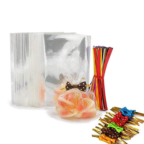 200 Clear Treat Bags with 200 Pcs Twist Ties 20 Bowknot 5 Colors,Clear Cellophone Bags Party Favor Bags for Lollipop Cake Pop Candy Buffet Chocolate Cookie Wedding Supply (3 x 4)
