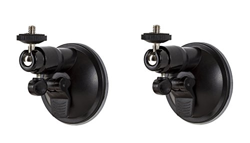 Smart Security Suction Cup Wall Mount- Adjustable Indoor/Outdoor Suction Cup Mount for Arlo Cam and Other Compatible Models by Wasserstein (2 Pack, Black)